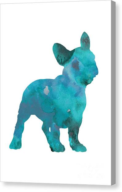 Dogs Canvas Print - Teal Frenchie Abstract Painting by Joanna Szmerdt