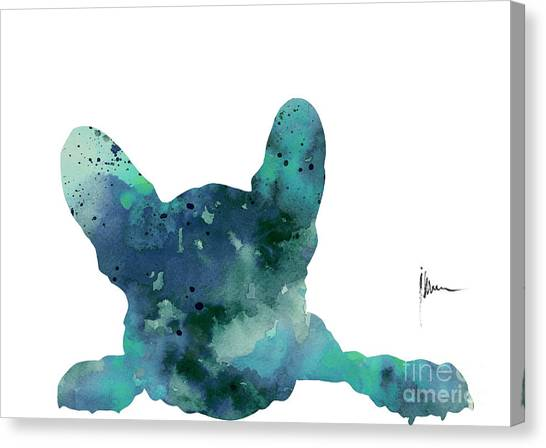 Dogs Canvas Print - Teal Frenchie Minimalist Painting by Joanna Szmerdt