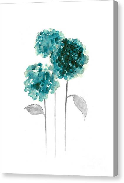 Drawing Canvas Print - Teal Hydrangea Fine Art Print by Joanna Szmerdt