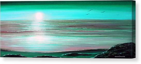 Teal Panoramic Sunset Canvas Print