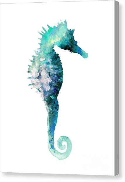 Fish Canvas Print - Teal Seahorse Nursery Art Print by Joanna Szmerdt