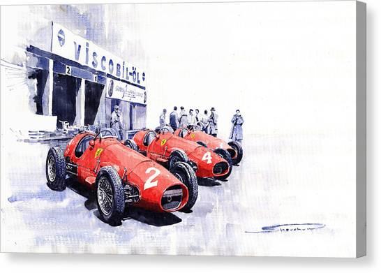Sports Cars Canvas Print - 1953 Team Ferrari 500 F2 German Gp by Yuriy Shevchuk