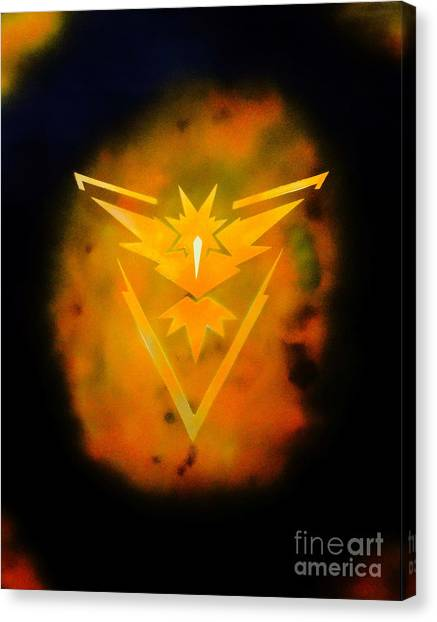 Pokemon Go Canvas Print - Team Instinct by Justin Moore