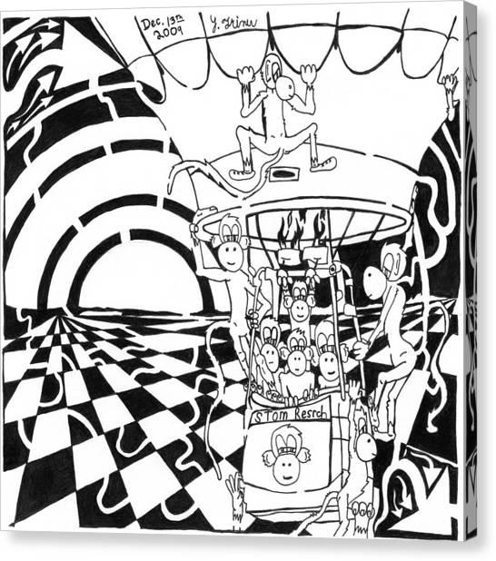 Team Of Monkeys Maze Comic Hot Air Balloon Canvas Print by Yonatan Frimer Maze Artist