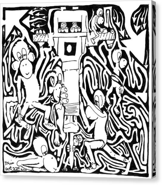Jackhammers Canvas Print - Team Of Monkeys Maze Comic Jackhammer by Yonatan Frimer Maze Artist