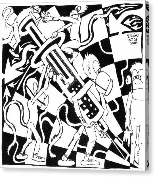 Team Of Monkeys Swine Flu H1n1 Vaccine Canvas Print by Yonatan Frimer Maze Artist