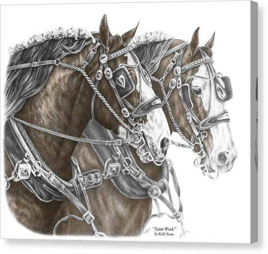 Team Work - Clydesdale Draft Horse Print Color Tinted Canvas Print