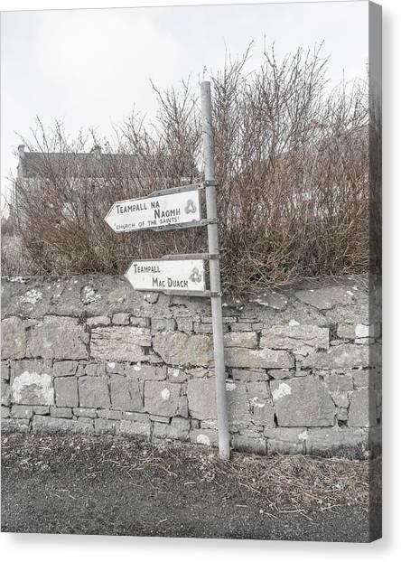 Aran Canvas Print - Teampall Sign Inis Mor Ireland by Betsy Knapp
