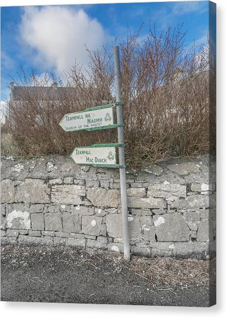 One Direction Canvas Print - Teampall Sign Inis Mor Ireland Color by Betsy Knapp