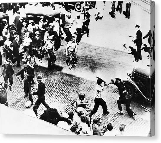 Truck Driver Canvas Print - Teamsters Strike, 1934 by Granger