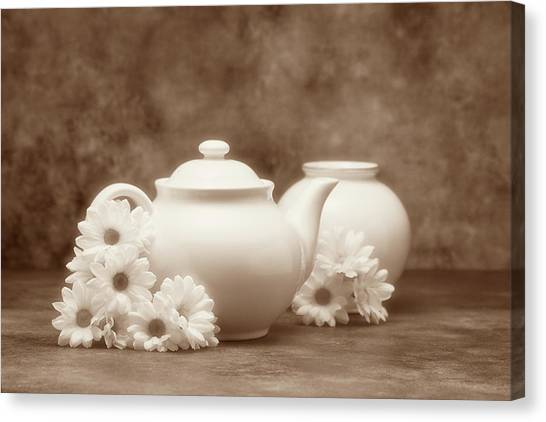 Daisy Canvas Print - Teapot With Daisies I by Tom Mc Nemar