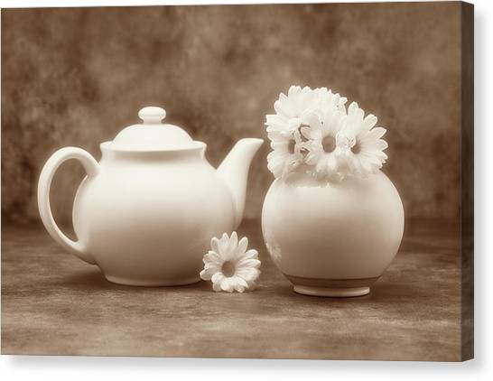Daisy Canvas Print - Teapot With Daisies II by Tom Mc Nemar