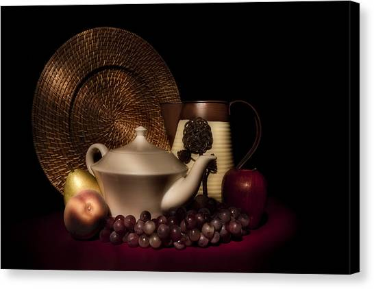 Pear Canvas Print - Teapot With Fruit Still Life by Tom Mc Nemar