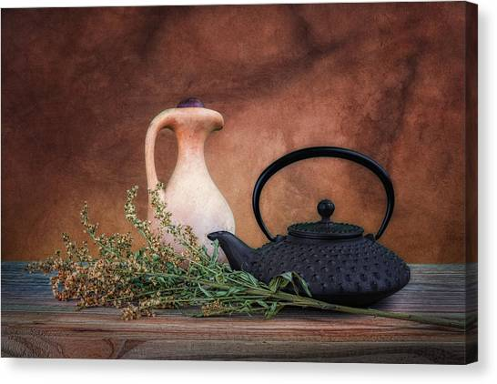 Metallic Canvas Print - Teapot With Pitcher Still Life by Tom Mc Nemar
