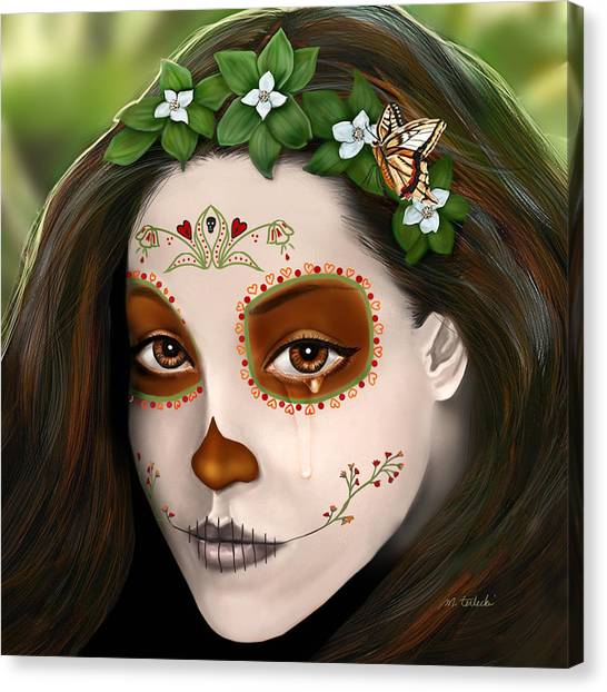 Dea Canvas Print - Teary Eyed Day Of The Dead Sugar Skull  by Maggie Terlecki