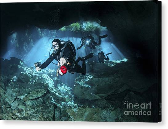 Spelunking Canvas Print - Technical Divers Enter The Cavern by Karen Doody