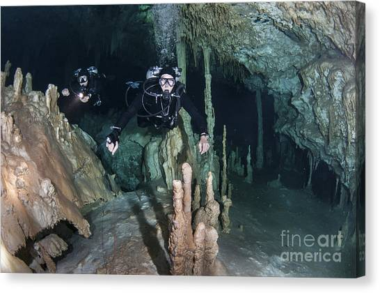 Spelunking Canvas Print - Technical Divers In Dreamgate Cave by Karen Doody