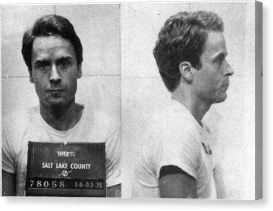 Ted Bundy Canvas Print - Ted Bundy Mug Shot 1975 Horizontal  by Tony Rubino
