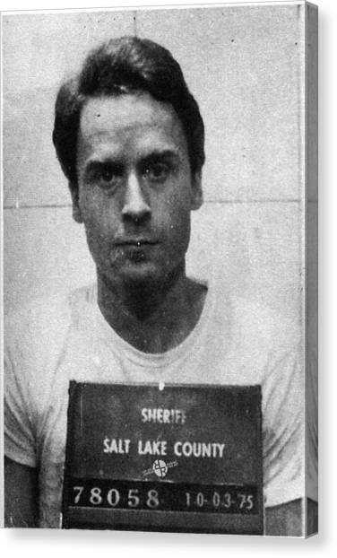 Ted Bundy Canvas Print - Ted Bundy Mug Shot 1975 Vertical  by Tony Rubino