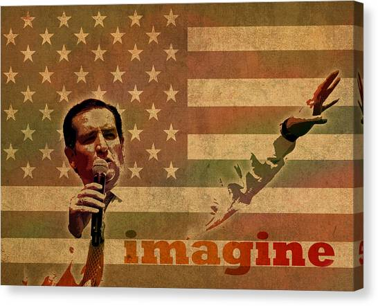 Ted Cruz Canvas Print - Ted Cruz For President Imagine Speech 2016 Usa Watercolor Portrait On Distressed American Flag by Design Turnpike