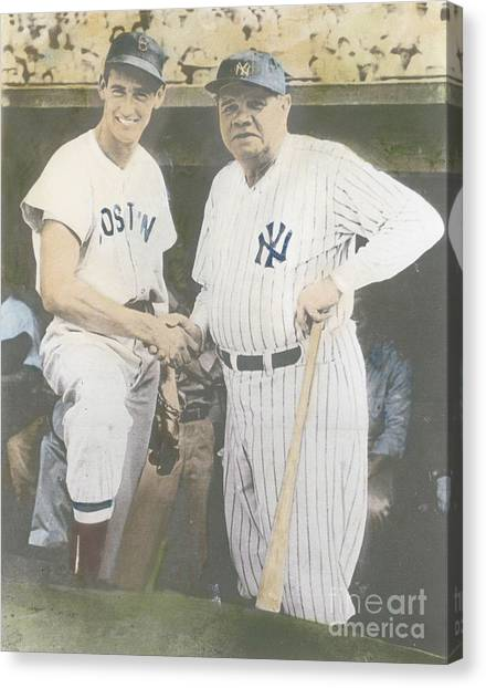 Ted Williams And Babe Ruth Canvas Print by Susan Bock