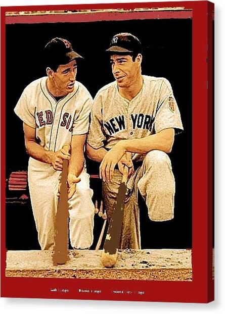 Joe Dimaggio Canvas Print - Ted Williams Joe Dimaggio All Star Game 1946 by David Lee Guss