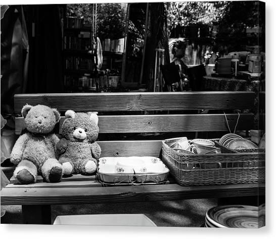 Teddy Bear Lovers On The Bench Canvas Print