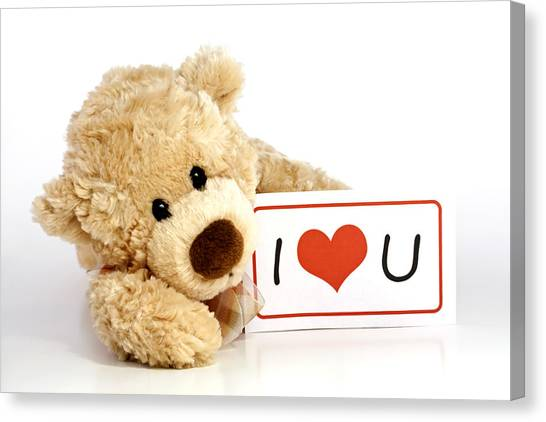 Teddy Bears Canvas Print - Teddy Bear With I Love You Sign by Blink Images