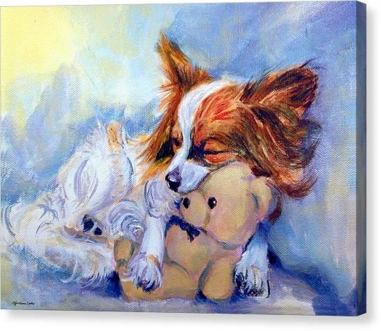 Teddy Bears Canvas Print - Teddy Hugs - Papillon Dog by Lyn Cook