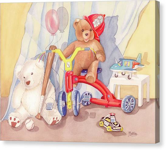 Toy Airplanes Canvas Print - Teddy On A Bike by Madeline  Lovallo