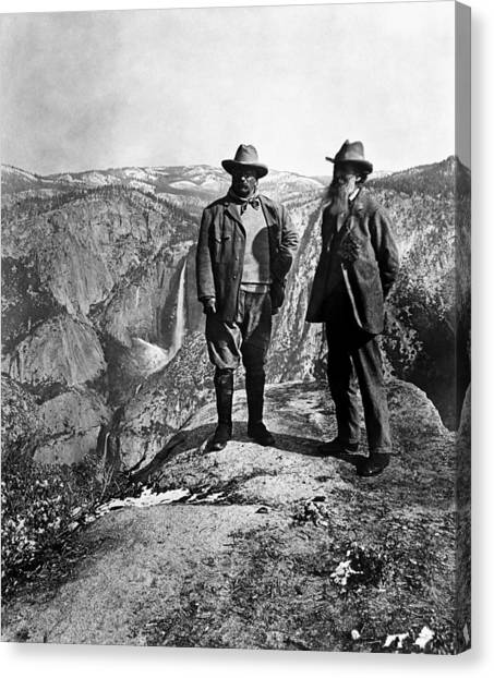 Theodore Roosevelt Canvas Print - Teddy Roosevelt And John Muir - Glacier Point Yosemite Valley - 1903 by War Is Hell Store