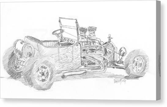 Classic Car Drawings Canvas Print - Tee Bucket Sketch by David King