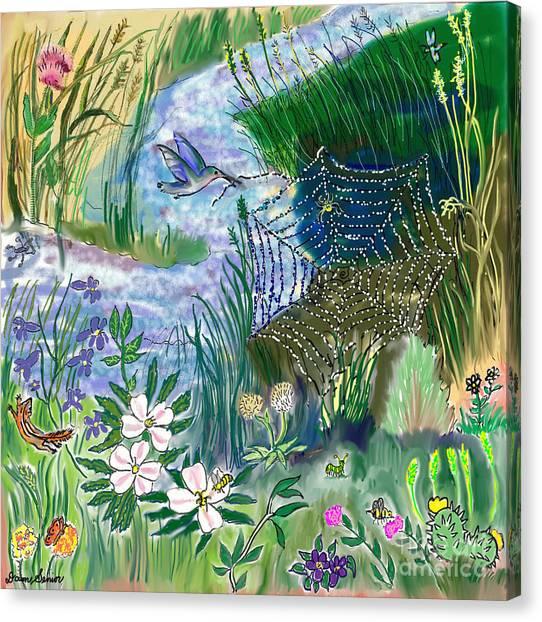 Teen Drawing -- Hummingbird Collecting Silk Canvas Print