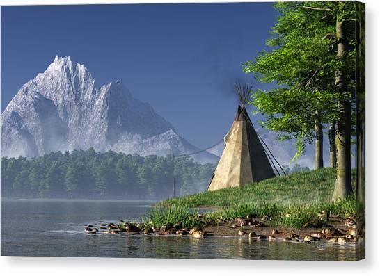 Canvas Print featuring the digital art Teepee By A Lake by Daniel Eskridge
