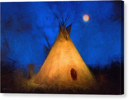 Teepee In Moonlight Canvas Print