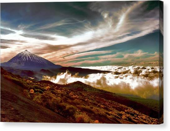 Teide Volcano - Rolling Sea Of Clouds At Sunset Canvas Print by Menega Sabidussi