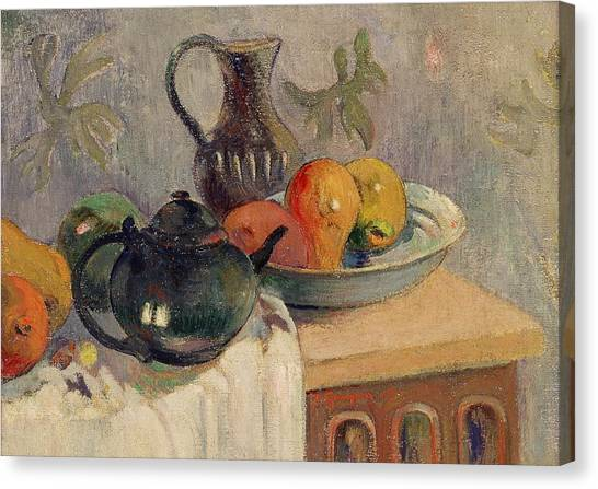 Mangos Canvas Print - Teiera Brocca E Frutta by Paul Gauguin