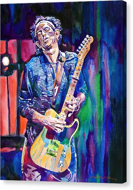 Music Canvas Print - Telecaster- Keith Richards by David Lloyd Glover