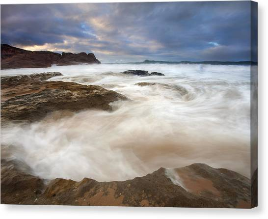 Ocean Sunrises Canvas Print - Tempestuous Sea by Mike  Dawson