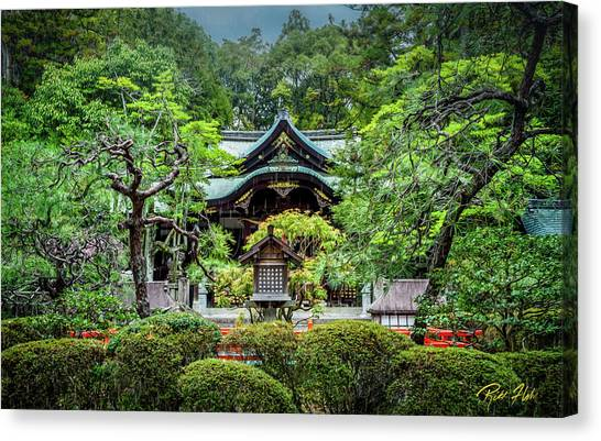 Canvas Print featuring the photograph Temple In The Rain by Rikk Flohr