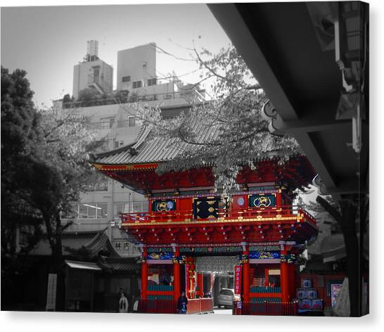 Japanese Canvas Print - Temple In Tokyo by Naxart Studio
