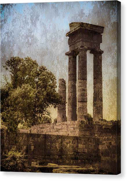 Canvas Print featuring the photograph Rhodes, Greece - Temple Of Apollo by Mark Forte