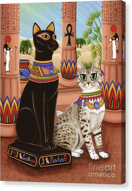 Egyptian Maus Canvas Print - Temple Of Bastet - Bast Goddess Cat by Carrie Hawks