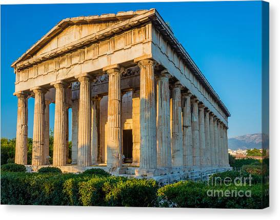 Greece Canvas Print - Temple Of Hephaestus by Inge Johnsson