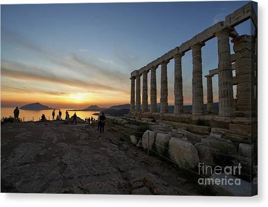 Sundown Canvas Print - Temple Of Poseidon During Sunset by George Atsametakis