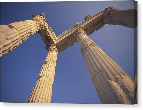 Hellenistic Art Canvas Print - Temple Of Trajan In The Hellenistic by Richard Nowitz
