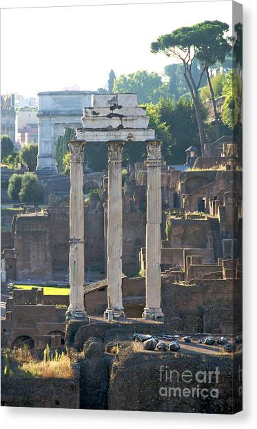 Rome Canvas Print - Temple Of Vesta Arch Of Titus. Temple Of Castor And Pollux. Forum Romanum by Bernard Jaubert