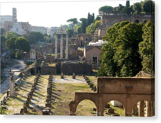 The Forum Canvas Print - Temple Of Vesta. Arch Of Titus. Temple Of Castor And Pollux. Forum Romanum. Roman Forum. Rome by Bernard Jaubert