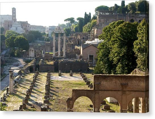 The Forum Canvas Print - Temple Of Vesta. Arch Of Titus. Temple Of Castor And Pollux. Forum Romanum. Roman Forum. Rome by Bernard Jaubert