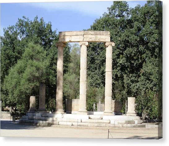 Temple Of Zeus Ancient Ruins In Olympia Greece Canvas Print